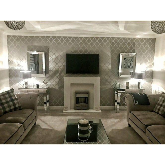 Shimmer Tree Wallpaper Soft Grey Silver In 2020 Classy Living Room Interior Design Living Room Grey Living Room Decor Gray