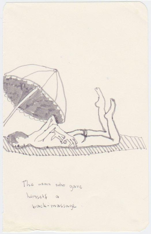 Marlene Steyn, 'The man who game himself a back- massage' (2014), Marker on paper 13.5 x 9cm, 27 x 20cm framed