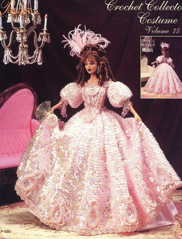 1830 Jeweled Engagement Gown for Barbie Paradise Vol 75 Crochet PATTERN NEW