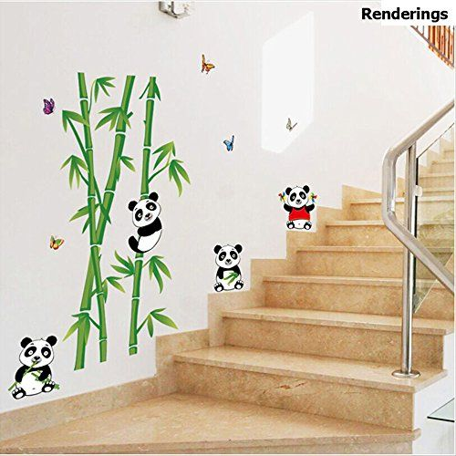 Winhappyhome Cute Pandas Bamboo Wall Art Stickers For Kids Bedroom Nursery  Background Removable Decor Decals