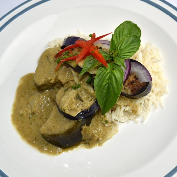 Thai Eggplant Green Curry with Sweet Potatoes  In this Thai inspired vegetarian recipe, our chefs combine nutrient rich sweet potatoes and eggplant that gives the lovely green hue in the curry, cooked with sweet basil leaves and fragrant coriander for an authentic and sublime taste. This dish cannot be complete without creamy coconut milk which pairs perfectly with the green curry paste. Together, the green chili peppers, herbs and spices provides and amazing layer of flavor and heat.