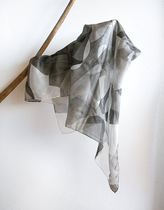 Foulard seta dipinto a mano  macchie nere e di AliceElettrica