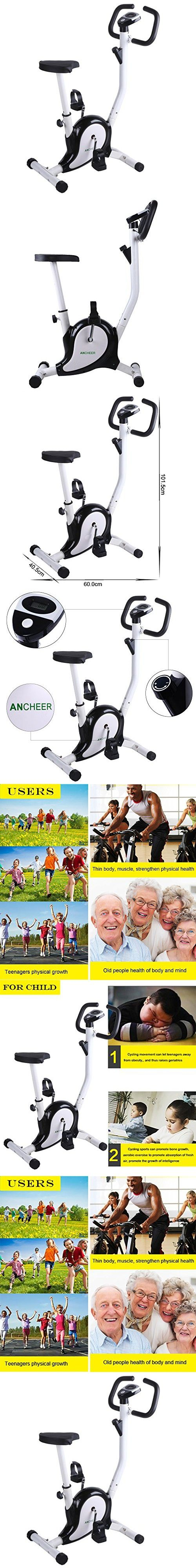 Ancheer Upright Exercise Bike 6 Level Magnetic Tension Adjustable Indoor Cycle Trainer with LCD Display