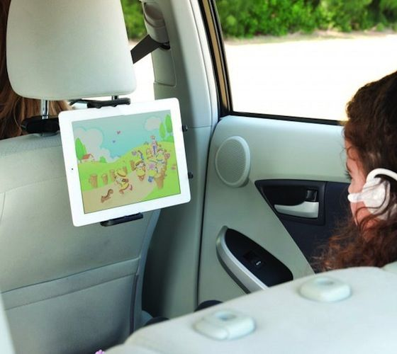 StrongHold Headrest Tablet Mounting System / The iSimple Stronghold Tablet Headrest mount is designed to safely and securely hold your tablet in place for rear seat viewing. http://thegadgetflow.com/portfolio/stronghold-headrest-tablet-mounting-system/
