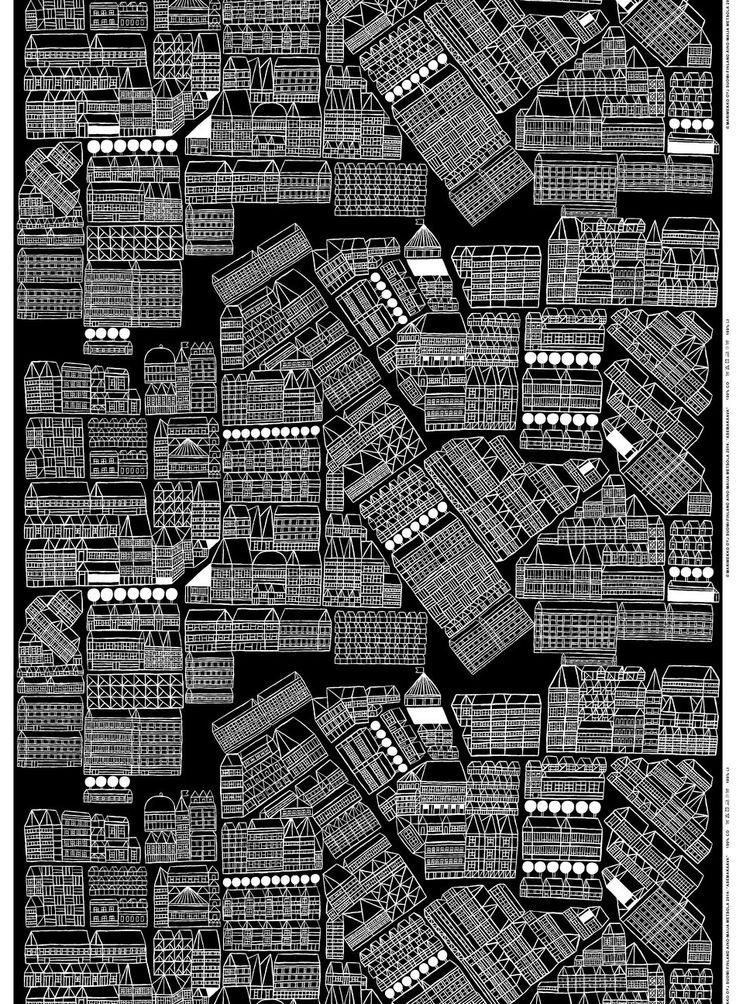 Asemakaava heavyweight cotton | This line drawing print depicts a bird's eye view of a city. Designer Aino-Maija Metsola was inspired by old maps | Marimekko Fabrics