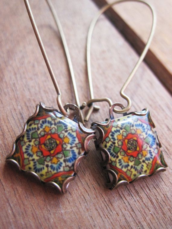 Mexican jewelry Mexican Talavera tile drop by ShrunkenCatHeads, $27.00