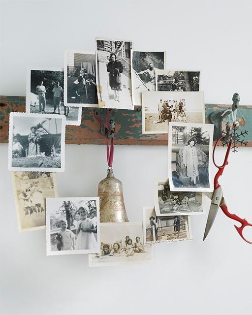 DIY Memory Wreath -- great decor piece using old family photos!