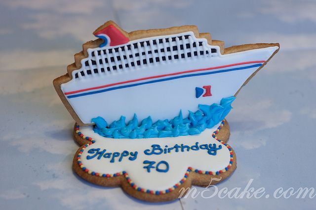 Sugar decorated cookies, Carnival Cruise cookies theme: captain, life preservers,anchor, ship wheel, cruise ship, carnival logo.For a 70 birthday trip celebration.             I LOVE TO CRUISES WITH YOU