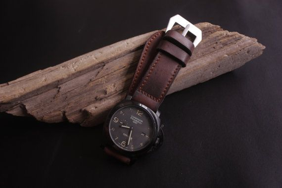 Maroon/Mahogany Vintage Leather Watch Strap by SIMPLEASTRAPS