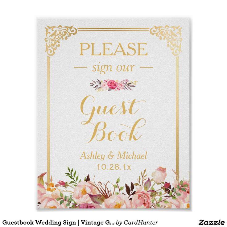 Guestbook Wedding Sign   Vintage Gold Frame Floral Poster