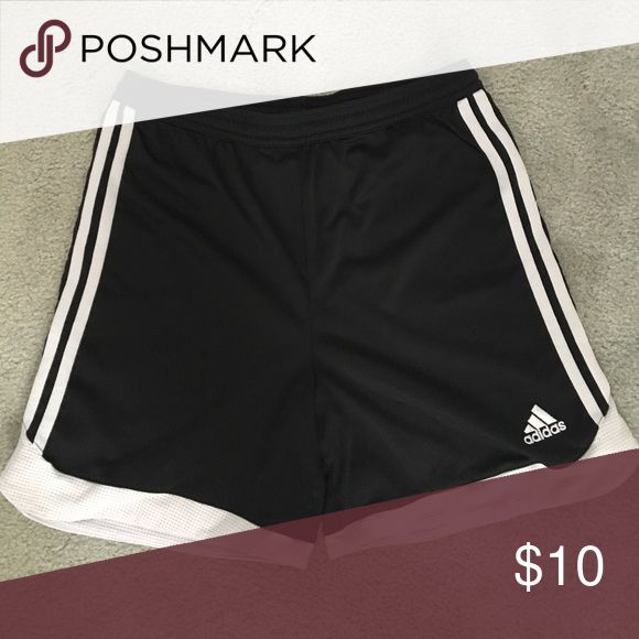 Adidas soccer shorts black and white Adidas soccer shorts. In order of pictures sizes are small, medium, small, medium. $10 each or all 4 for $30 adidas Shorts