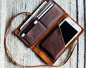 the hustler wrap wallet with phone sleeve // hand-sewn brown oiled, waxed kodiak // card + phone pocket with a leather wrap-around strap