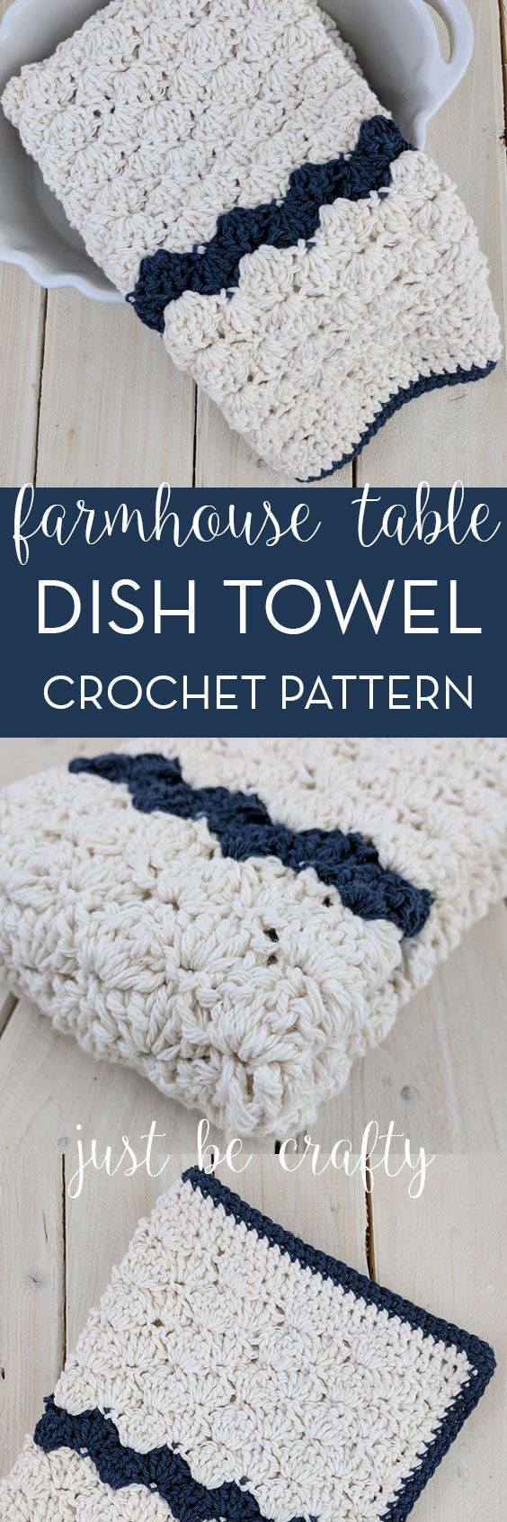 Crochet Farmhouse Table Dish Towel Pattern | Free Pattern by Just Be Crafty
