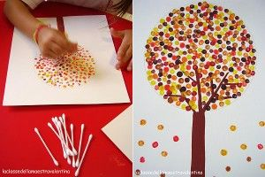 q-tip painting - kid's craft - fall tree