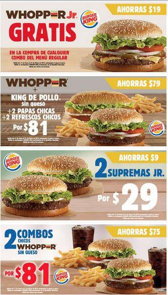 Ofertas Burger King cupones promocionales Ofertas Burger King cupones: Aprovecha las ofertas y promociones que Burger King tiene para ti. Donde encontrarás grandes descuentos y beneficios. En esta ocasión trae para ti sus cupones promocionales:  Whopper Jr. GRATIS. Whopper + King de Pollo sin q... -> http://www.cuponofertas.com.mx/oferta/ofertas-burger-king-cupones-promocionales/