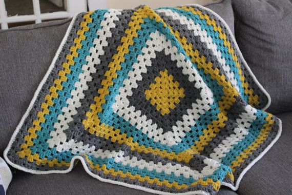 Striped baby blanket crochet newborn blanket granny square teal, yellow, gold, gray