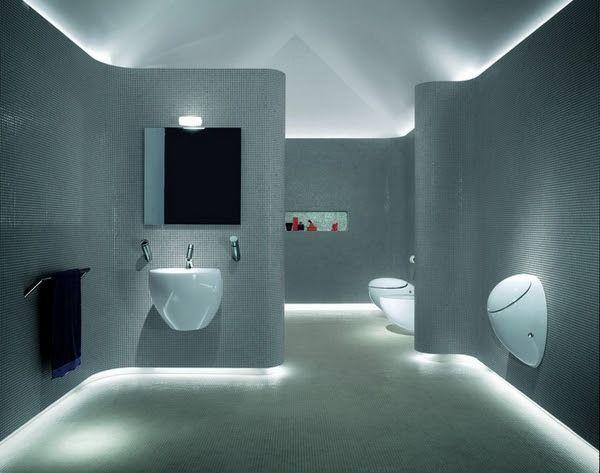 LED strip lighting skirting board and ceiling tiled bathroom walls