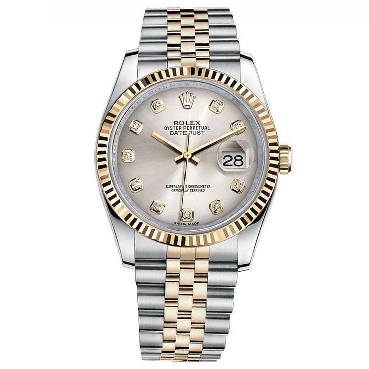 Rolex Datejust 36 Steel Yellow Gold Oyster Bracelet Watch Silver Diamond Dial 116233