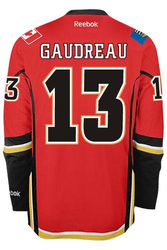 Calgary Flames Johnny GAUDREAU #13 Official Home Reebok Premier Replica NHL Hockey Jersey (HAND SEWN CUSTOMIZATION)