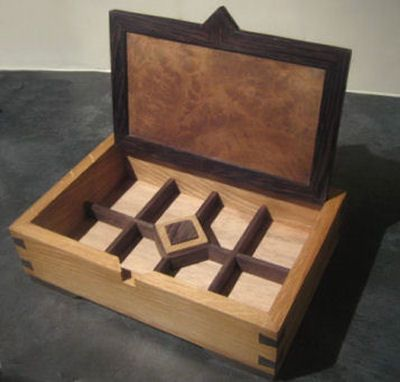 handmade oak and wenge jewellery box