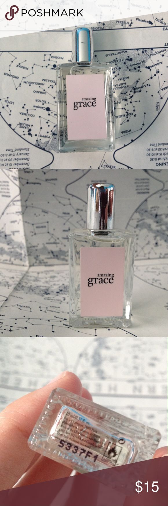 Philosophy Amazing Grace Perfume NEW deluxe sample / travel size version of Philosophy Amazing Grace perfume from Sephora. 10 ml / 0.33 fl oz. This is the same fluid amount as the rollerball version, however, this is applied via dab on application. This fragrance does not come with a box but will be bubble-wrapped securely. No trades please. Sephora Makeup