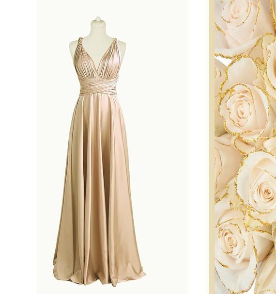 Robe De Demoiselle D Honneur Champagne In 2020 Etsy Dresses Champagne Bridesmaid Dresses Infinity Dress Bridesmaid