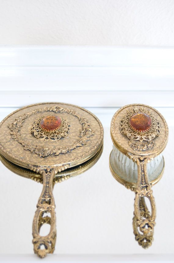 Vanity Mirror And Brush Set Gold Shabby Chic Victorian