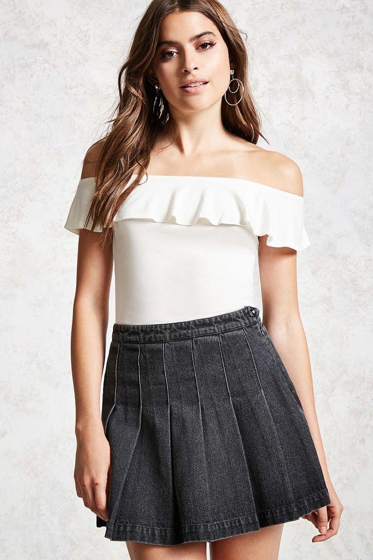 Box Pleat Denim Skirt