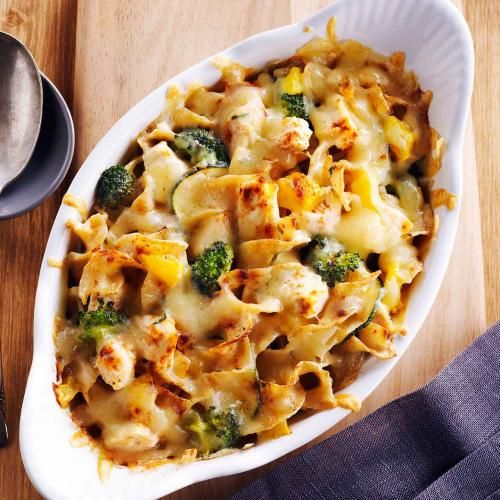 Try this inexpensive and fresh version of a chicken & broccoli casserole. No need for processed soups or sauces! Use any combination of in-season, fresh vegetables equaling 4 - 5 cups.