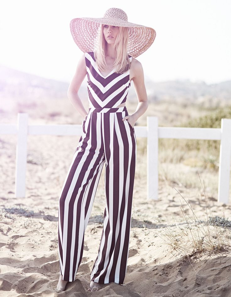 bohemian style, stripe black and white jumpsuit