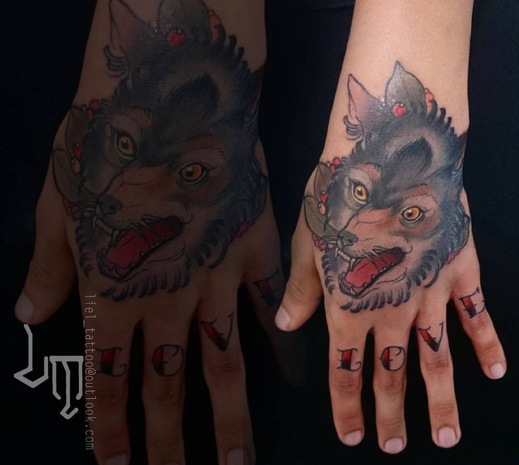 Hand and fingers! #handtattoo #fingerstattoo #neotraditional #neotradsub #thebesttattooartists #ink #wolftattoo #wolves
