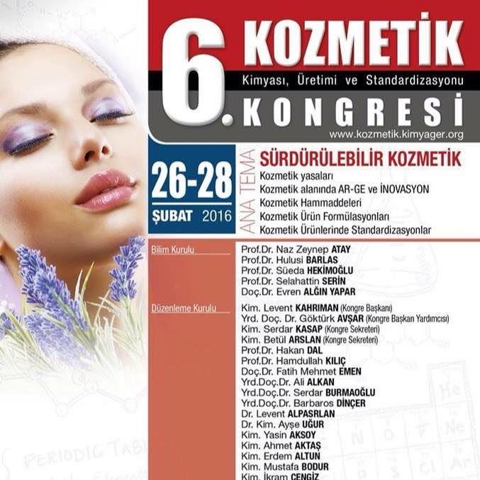 """Kimyagerler Derneği olarak, Şubat 2011'de birincisini yaparak başladığımız Kozmetik Kongreleri serisini, her yıl dahada artan katılım ve coşkuyla geleneksel hale getirmenin mutluluğunu yaşamaktayız. Aynı şevk ile 6. Kozmetik Kongresinin yayınlamanın heyecanını yaşıyoruz. 26-28 Şubat 2016 tarihlerinde Antalya'da """"Sürdürülebilir Kozmetik"""" ana teması ile gerçekleştirecek kongremize, duygularımıza ortak olmaları temennisiyle tüm özel sektör, kamu ve bilim camiasını davet ediyoruz."""