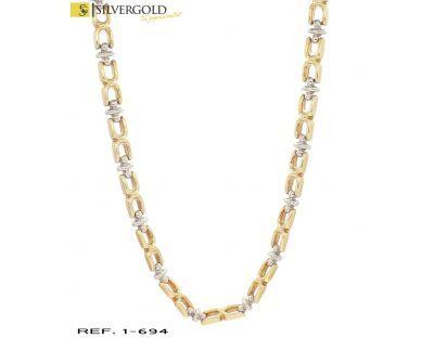 1-1-694-1-Gargantilla oro bicolor 18Kt. semirígida L 815