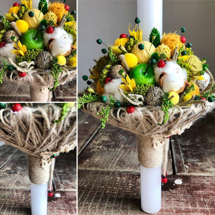 Lumanare de botez de primavara cu buburuze. Concept si realizare Alexandra Crisan | Aleksandra - atelier floristic #cotton #flowers #ladybug #spring #wool #ball