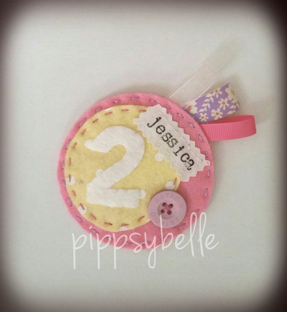 handmade felt birthday girl rosette/badge  can be by Pippsybelle