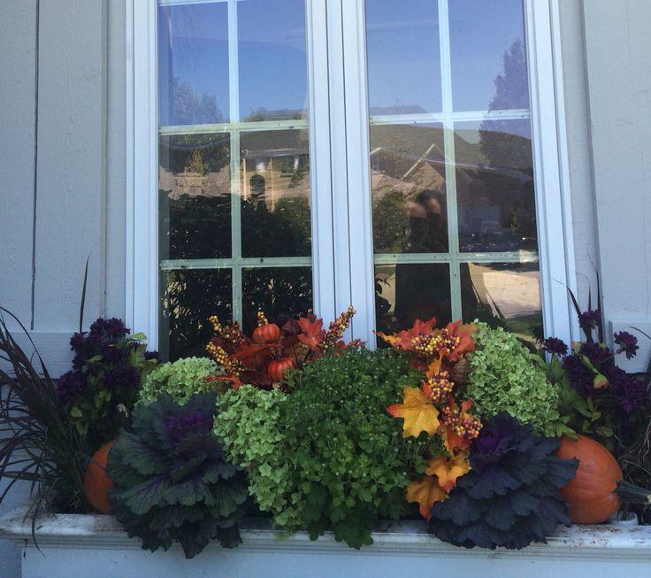 Fall window box. Kale, grass, dried hydrangeas and a few faux leaves.