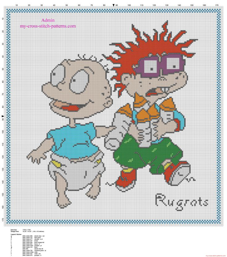 Cross stitch baby child cushion idea with Rugrats characters