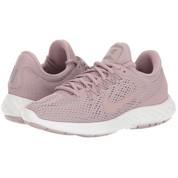 Nike Lunar Skyelux (Plum Fog/Plum Fog/White/Taupe Grey) Women's Shoes ($100) ❤ liked on Polyvore featuring shoes, athletic shoes, lace up shoes, mesh shoes, lightweight running shoes, white lace up shoes and wrap shoes