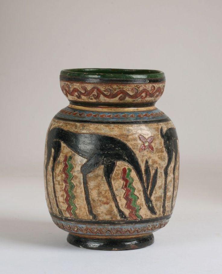 "Italian Art Deco Art Pottery Vase - Signed ""MONTOPOLI"" / Eames Mid-Century Italy"