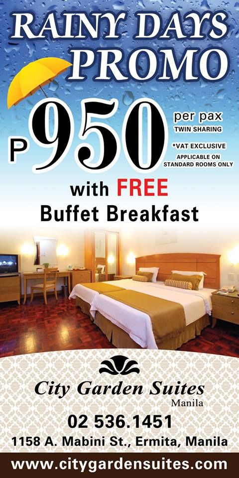 Rainy Days Promo for our valued guests.  Visit us at www.citygardensuites.com