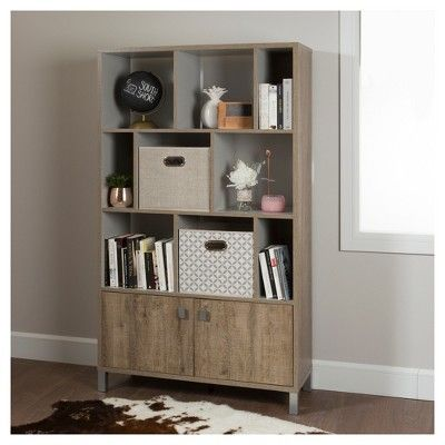 Expoz 9 - Cube Shelving Unit with Doors - Weathered Oak and Soft Gray - South Shore