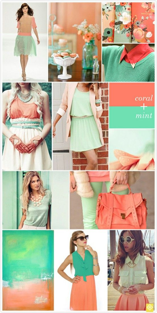 coral and mint obsessseddd: Fashion, Style, Mint Coral, Colors, Favorite Color, Outfit, Coral Mint, Color Combination