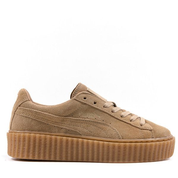 RIHANNA x PUMA WOMEN'S SUEDE CREEPER OATMEAL OATMEAL ($120) ❤ liked on Polyvore featuring shoes and sneakers