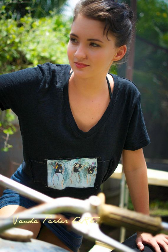 Woman Fashion Design Funky Hand decorated Art Original Tee top on Etsy, $39.00 AUD