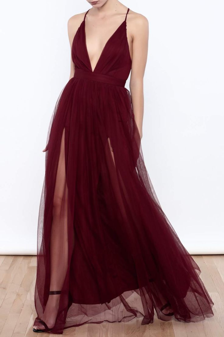 Deep v-neck dress with a layered tulle skirt, crisscross back straps and a zipper closure.    Tulle Maxi Dress by luxxel. Clothing - Dresses - Maxi Manhattan, New York City New York City
