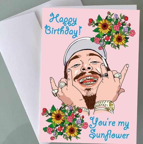 Post Malone Birthday Card Sunflower Funny Birthday Cards For Him Her Hip Hop Rap Art Girlfriend Boyfriend Hypebeast Gift Happy Music Fans In 2021 Handmade Birthday Cards Hip Hop Birthday
