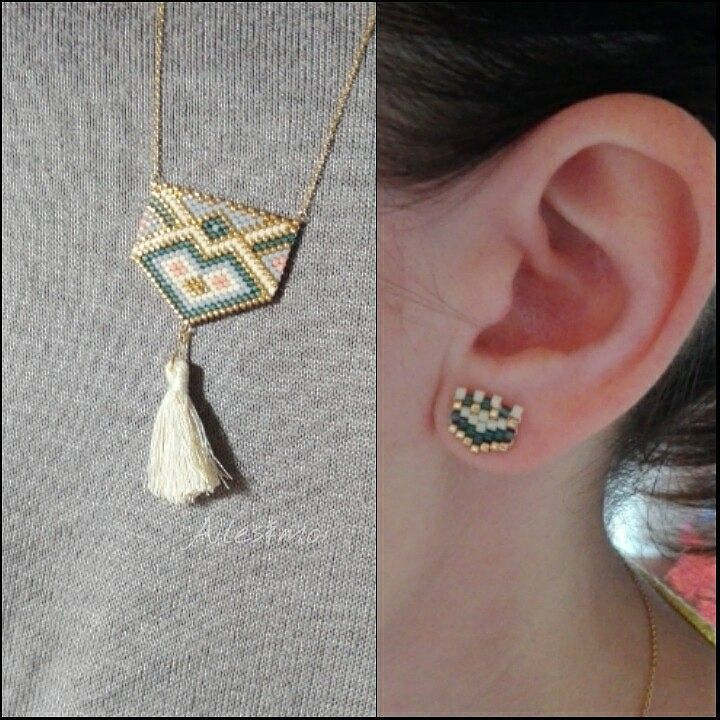 diy perles brick stitch miyuki peyote #ailesetmoi #miyuki #miyukiaddict #collier #jenfiledesperlesetjassume #delica #bouclesd'oreilles by ailesetmoi
