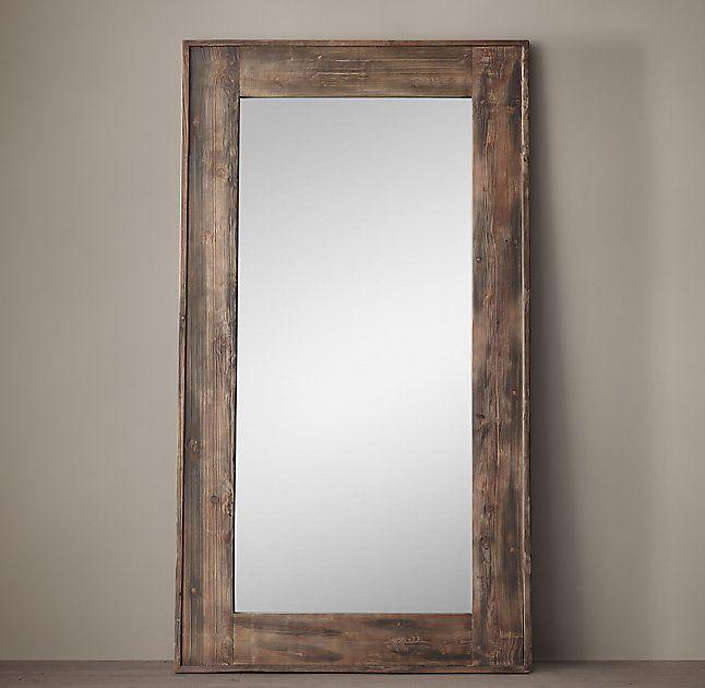 Restoration Hardware Salvaged Boat Wood Leaner Mirror
