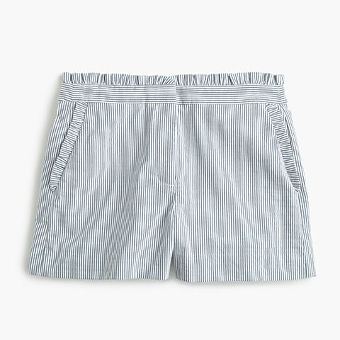 J.Crew National Stripes Day: women's ruffled seersucker short in stripe.