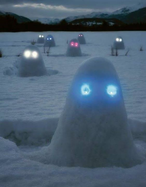 Make big snow lumps. Insert glow sticks for eyes. Freak the neighbors out.                                                                                                                                                     More